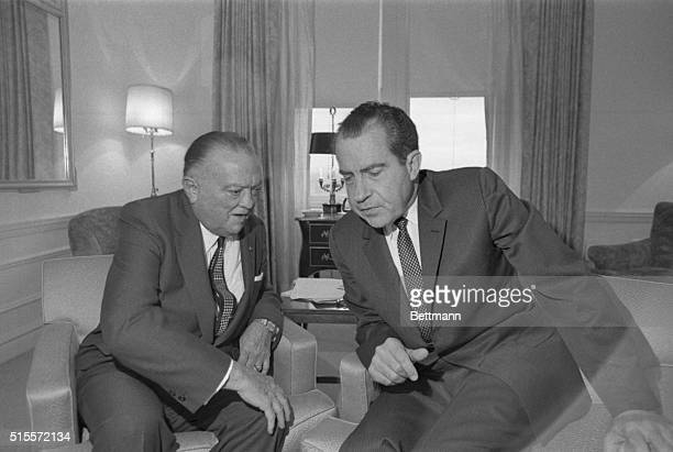 FBI Director J Edgar Hoover confers with Richard M Nixon the Presidentelect at the latter's transition headquarters at the Hotel Pierre here Nov 14th...