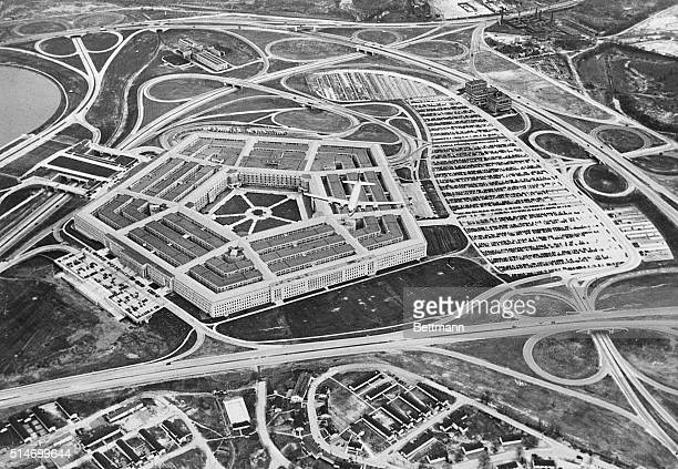 1/11/45Washington DC An unusual air view of the fabulous Pentagon building nerve center of the US Army From the air the roads approaches and 'clover...