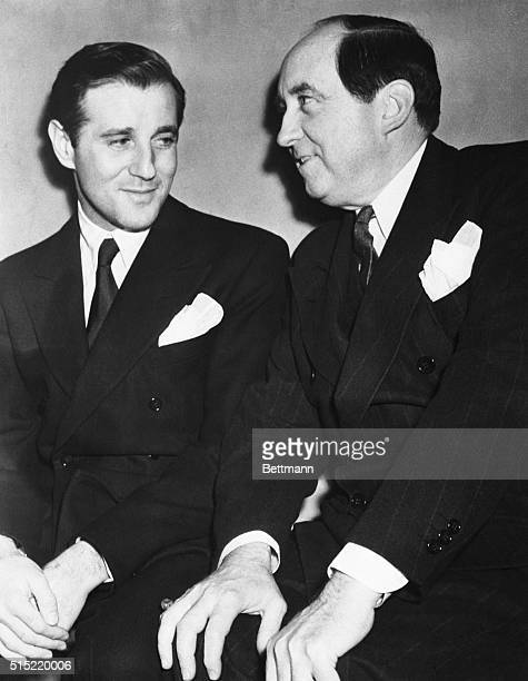 Los Angeles CaliforniaBenjamin Siegel a Hollywood night life figure in a courtroom conference with his attorney Jerry Giesler ace criminal lawyer...
