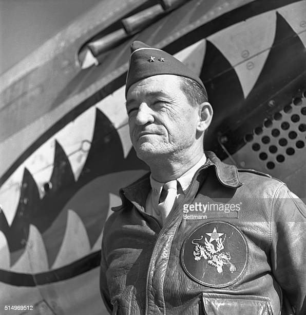 Kunming China Major General Claire Chennault Commander in the US Air Force during World War II is shown posing at the Air Base in Kunming