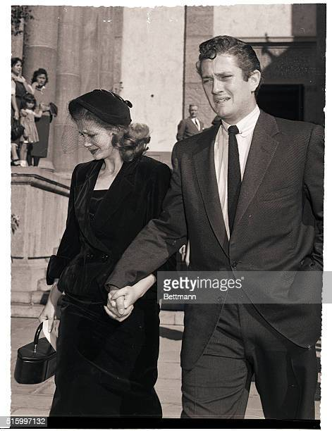 Los Angeles CA John Barrymore Jr and his wife Cara Williams show their grief as they leave the funeral services held for the late Lionel Barrymore at...