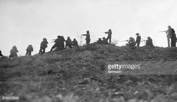 11/1913Juarez Mexico Mexican Revolution Pancho Villa and his troops on a hill observing the enemy rifles at the ready