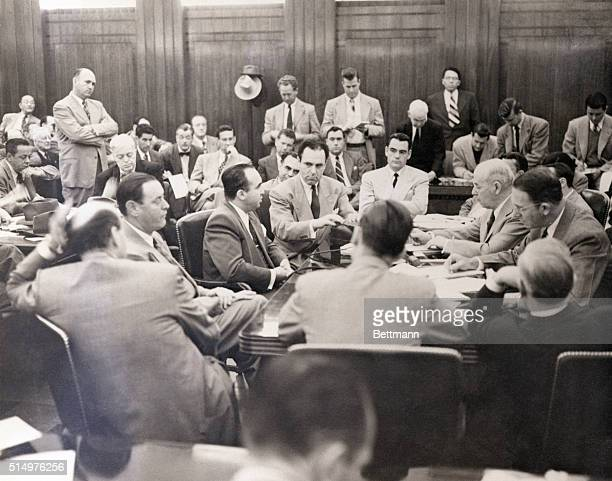 Los Angeles CA Mickey Cohen is shown before the Senate Crime Committee