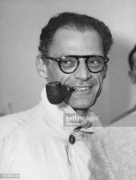 Arthur Miller, American playwright Head and shoulder, photo 1956.