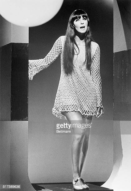 11/1967Cher Bono of Sonny Cher performing during a TV guest appearance She is shown full length wearing a crocheted minidress