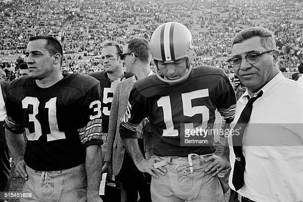 1/1/1967Los Anegels CA Green Bay Packers Vince Lombardi is shown with Jim Taylor and Bart Starr on the sidelines during the Super Bowl game against...
