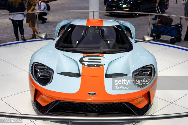 111th Annual Chicago Auto Show opens its doors for the media preview at McCormick Place in Chicago, Illinois, USA on February 7, 2019. A Ford GT is...