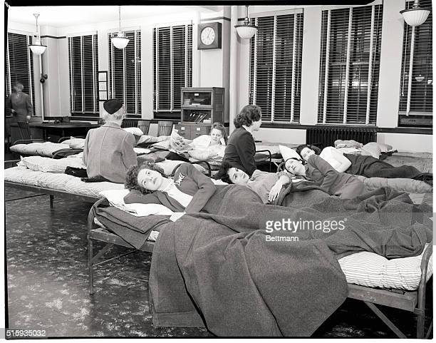 1/12/1946Chicago IL Telephone operators at the main downtown exchange spend their offduty hours resting or sleeping in a dormitory set up by the...