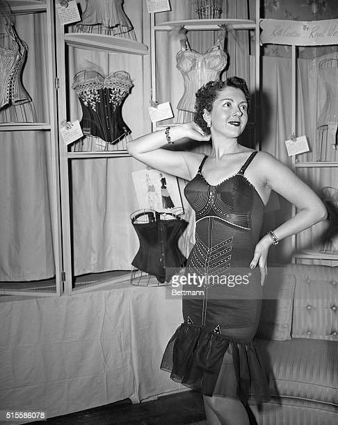 1/12/1950New York NY Jean Desmond models a Foundation Dimond corset at the dedication of the Roth CreationsRoyal Worcester Cavalcade of Corsetry...