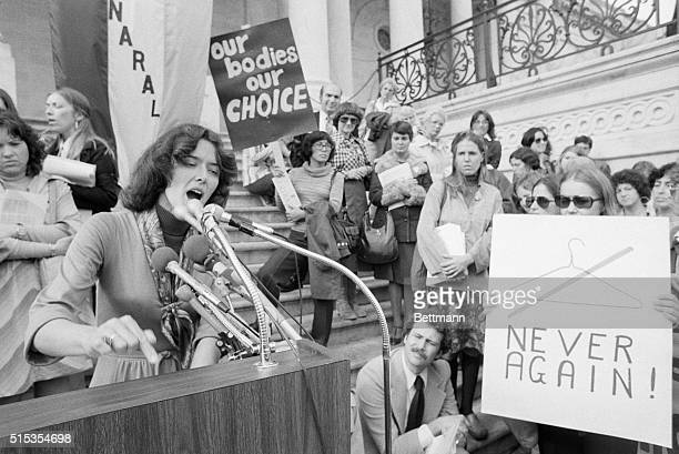 11/2/1977Washington DC Representative Pat Schroeder addresses a noontime rally of proabortionists on the Capitol steps The group was protesting the...
