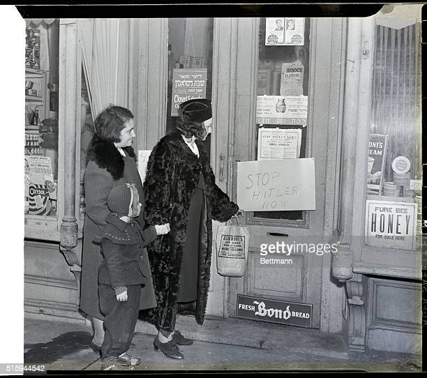 New York City Jewish merchants in the Bronx closed their stores for one hour Nov 23rd in protest against antiSemitism in Germany Here shoppers look...