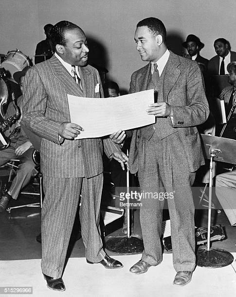Richard Wright and Count Basie at recording session where Basie band recorded music by Clinton R Brewer a convict who has been in prison since 1931