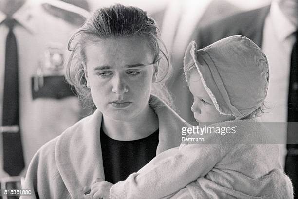 Fort Worth TX Mrs Marina Oswald widow of accused Presidental assassin Lee Harvey Oswald weeps as she views the body of her husband shortly before...