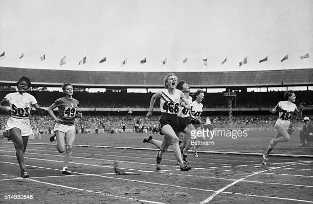 Melbourne Australia AUSTRALIAN GIRL WINS SOMEN'S 100METER FINAL Australia's Betty Cuthbert is shown winning the 100meter final at the Olympic Games...