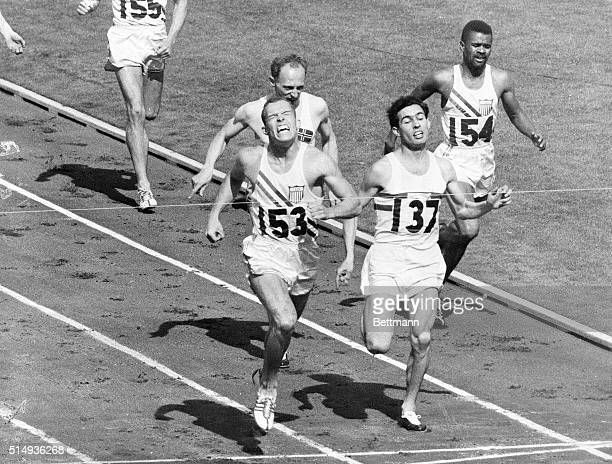 """Melbourne, Australia- """"CAME FROM BEHIND."""" Tom Courtney of the U.S.A. Team is shown here as he won the 800-meter event over Britain's Derek Johnson ...."""