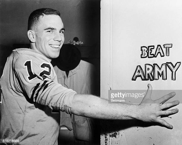 Annapolis MD Roger Staubach Navy's spectacular quarterback is shown at the US Naval Academy after it was announced that he had won the Heisman Award...