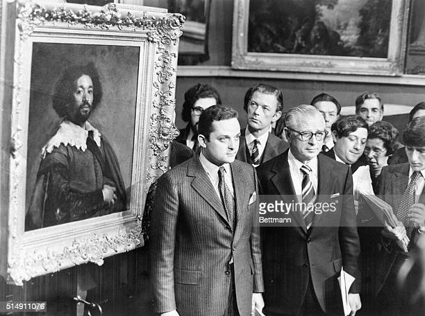 London England Alec Wildenstein vice president of New York's Wildenstein Gallery and Louis Goldberg a Wildenstein business associate stand beside...