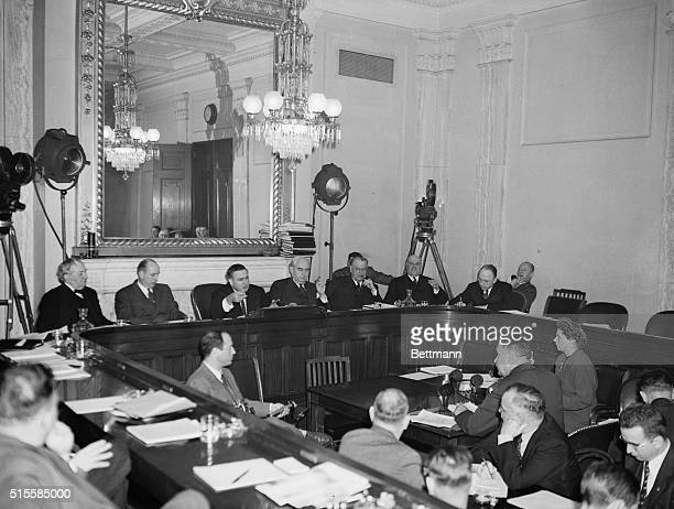 Washington DC General view during the second day hearings of the Senate Special Committee on the Atomic Bomb Major General Leslie R Groves head of...