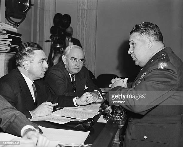Washington DC Senator Brien McMahon chairman of the Senate Atomic Bomb Committee Senator Arthur Vandenberg and Major General Leslie Groves head of...