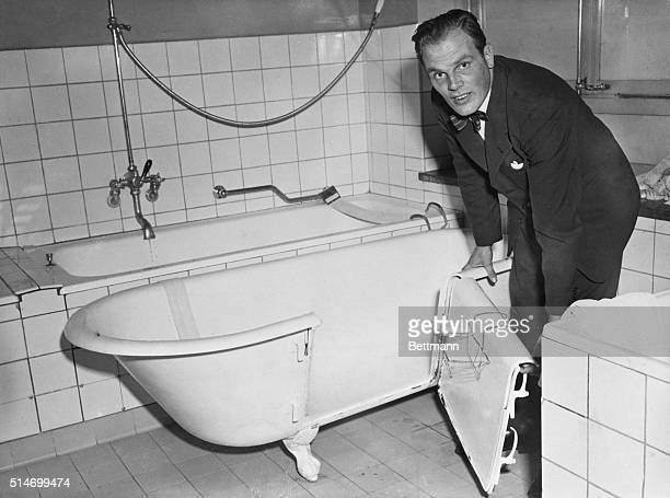Stockholm Sweden Inventor Per Bergman is showing off his brainchild A bathtub with a door in Stockholm Primarily designed for old or disabled persons...