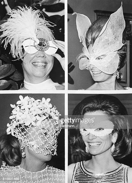 New York, NY- Adding to the glitter and dazzle at author Truman Capote's masked party are Mrs. Nicholas Katzenbach ; Mrs. Henry Ford ; Joan Fontaine...