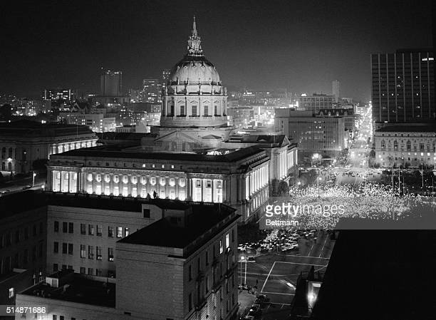 San Francisco CA A crowd estimated by police to be 15000 hold a candlelight service in front of San Francisco City Hall in honor of slain Mayor...