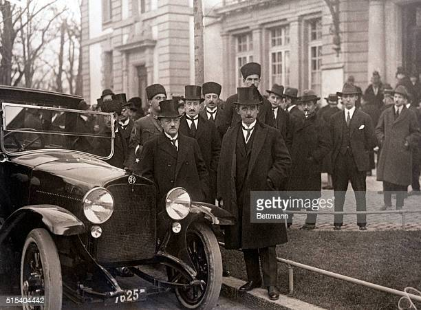 Lausanne Switzerland Picture shows Ismet Pasha amoung the other Turkish delegates at the Peace Conference