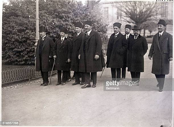 Lausanne Switzerland Picture shows Turkish delegates going to a peace conference