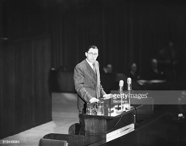 New York Andrei Gromyko Soviet representative to the United Nations is shown as he spoke in favor of an immediate vote on the Palestine partition...