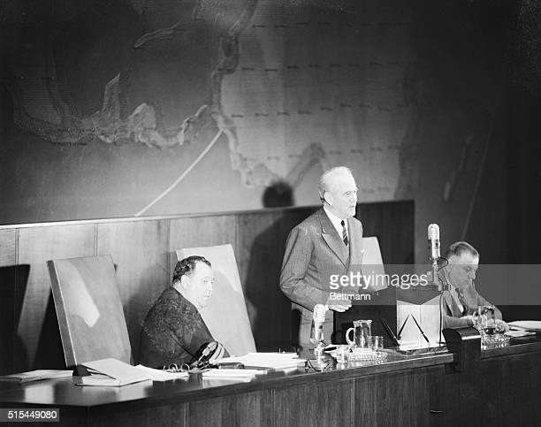 New York Dr Oswaldo Aranha President of the UN General Assembly shown announcing the assembly's official adoption of the plan to partition Palestine...