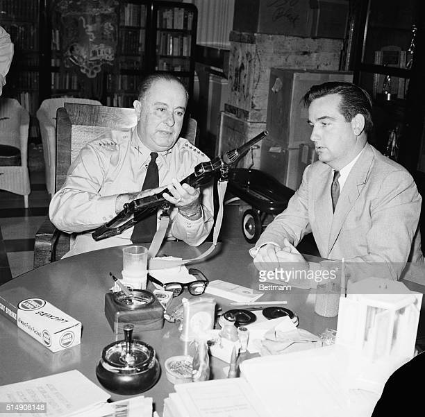1/13/1955Managua NicaraguaGeneral Anastazio Somoza President of Nicaragua in a press conference with a foreign correspondent The submachine gun is...