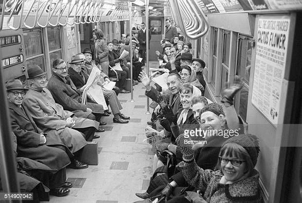 1/13/1966New York NY Seated and warm New Yorkers ride to work in style as they fill the subway car following the end of the 13dayold transit strike...