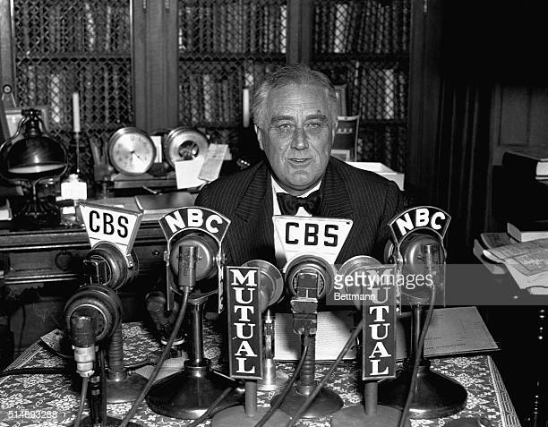 Portrait of President Roosevelt as he spoke during a radio broadcast from his Hyde Park home the night of Nov 4 In his speech the President called...