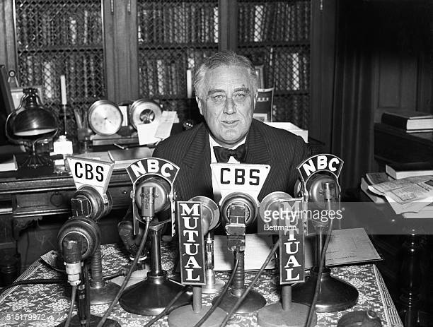 11/4/1938Hyde Park NY Portrait of President Roosevelt as he spoke during a radio broadcast from his Hyde Park home the night of Nov 4 In his speech...