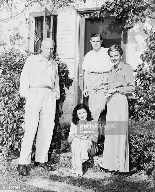 1/1/42Miami Beach Florida The Howard Hawks of Hollywood are pictured with their hosts Mr and Mrs John Simms Kelly of New York at the Kelly Winter...