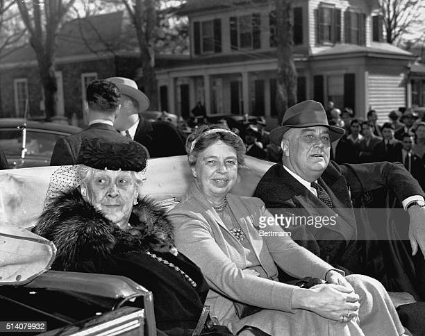 Hyde Park, New York-ORIGINAL CAPTION READS: President Fr Frain D. Roosevelt, his wife, Mrs. Eleanor Roosevelt , and his mother, 88-year-old Mrs. Sara...
