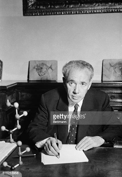 11/5/1963Milan Italy Dr Guilio Natta cowinner of the 1963 Nobel Prize for Chemistry inventor of Moplen the wonderplastic sits at his desk looking at...