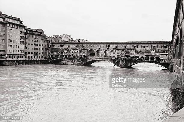 11/5/1966Florence Italy Florence's famed Ponte Vecchio shows the effects of the flood waters which raged through this famed city turning the streets...