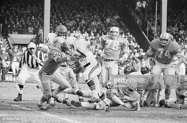 11/5/1967Detroit MI Bear halfback Brian Piccolo manages 9 yards running over right tackle before being stopped by Lion Tom Vaughn during the first...