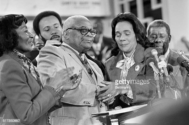 Martin Luther King Sr father of Dr Martin Luther King Jr is presented the Martin Luther King Jr Nonviolent Peace Prize by Coretta Scott King along...