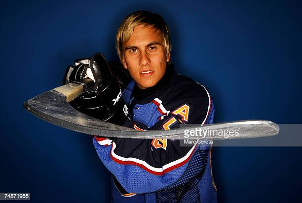 115th overall pick Niklas Lucenius of the Atlanta Thrashers poses for a portrait during the 2007 NHL Entry Draft at Nationwide Arena on June 23 2007...
