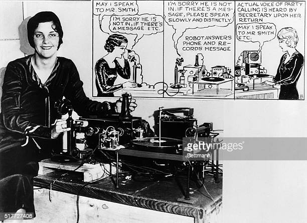 1/16/1932Los Angeles CA Portrait of Mrs Thelma Ron demonstrating the 'mechanical secretary' a machine invented by ER Degenhart to handle telephone...