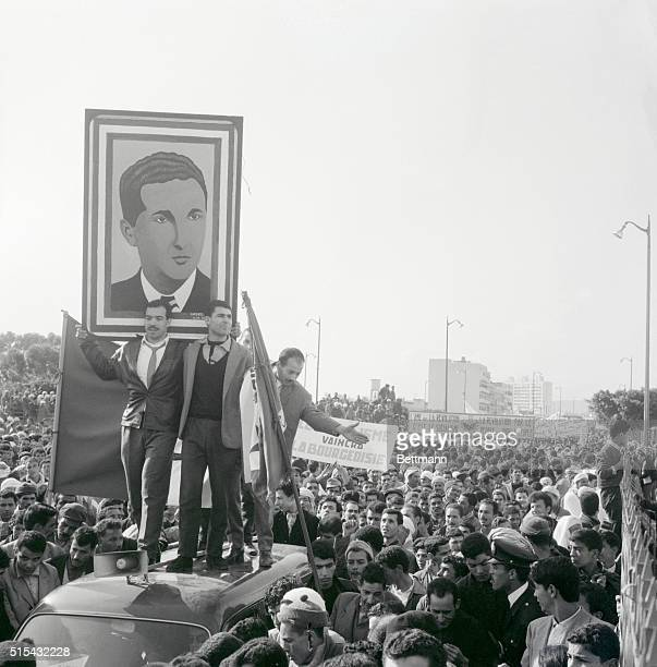 1/16/1964Oran Algeria A proBen Bella demonstration held the day after an antigovernment riot in Oran Algeria was highlighed by banners saying...