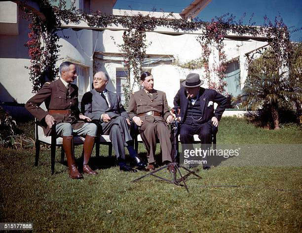 1/17/1943Casablanca Morocco General Henri Honore Giraud President Franklin Delano Roosevelt General Charles de Gaulle and Prime Minister Winston...
