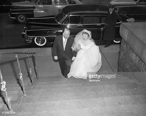 1/17/1952New York NYFamed movie director Alfred Hitchcock is shown with his daughter Patricia Alma Hitchcock as they arrived at St Patrick's...