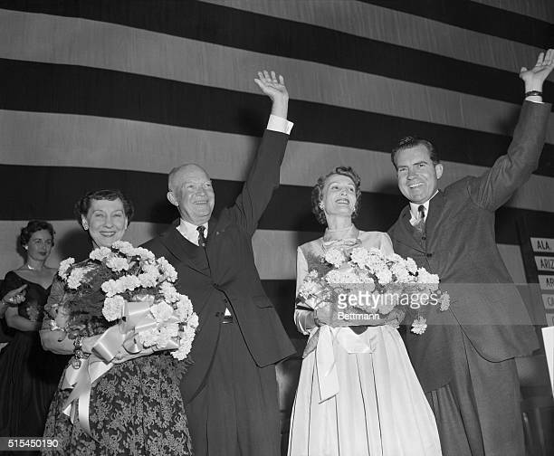 Washington, D.C.- Shown greeting the crowds after Adlai Stevenson conceded defeat early today to President Eisenhower are, left to right: Mrs....