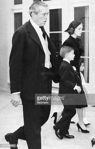 Beverly Hills, California- Actress Lauren Bacall is shown entering funeral services with her two children Leslie and Stephen for their husband and...