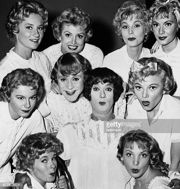 1/17/1959Ten pretty girls Count again there are only eight plus doll in center is Tony Curtis rubbing heads with Jack Lemmon They have to masquerade...