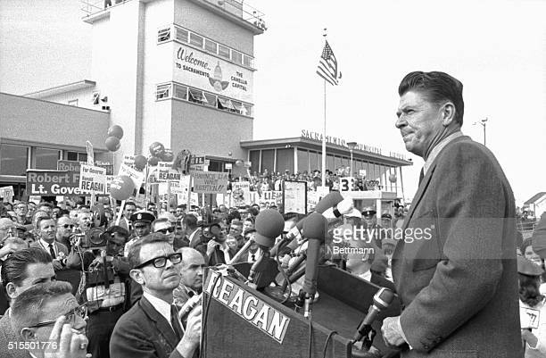 11/7/1966Sacramento CA Ronald Reagan Republican candidate for Governor is shown speaking to a crowd of proReagan Campaigners at the Sacremento Airport