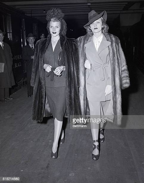 11/8/1941New York NYRita Hayworth and Marlene Dietrich Columbia Pictures glamour stars depart for Hollywood after a New York visit during which they...